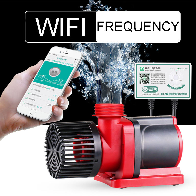NCFAQUA Controllable DC Water Pump 5 Speed Variable Submersible Circulation Pump with WIFI Controller for Aqua Fish Tank 6000L/h