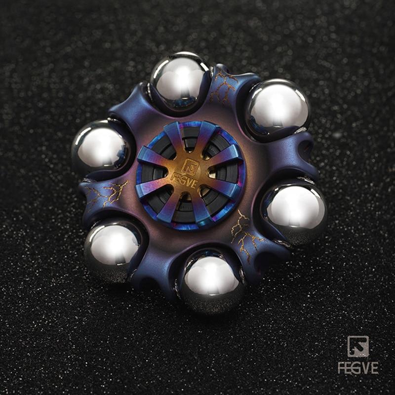 FEGVE Titanium alloy Roasted blue Lightning pattern Spinner Fidget Toys Hand Spinner Metal Fidget Spinner and