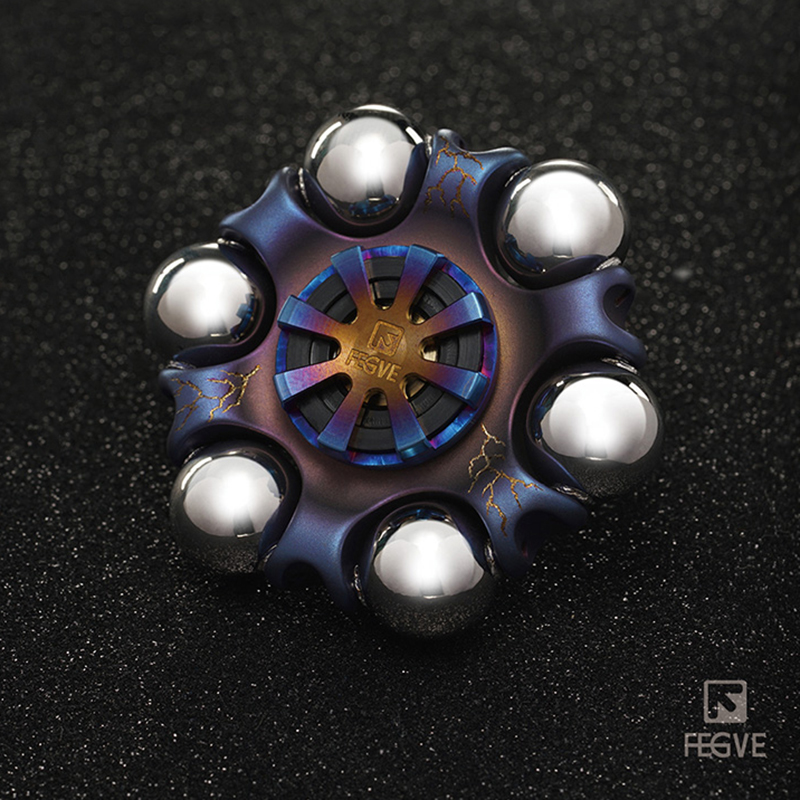 FEGVE Titanium Alloy Roasted Blue Lightning Pattern Spinner Fidget Toys Hand Spinner Metal Fidget Spinner And Adults Toys FG40