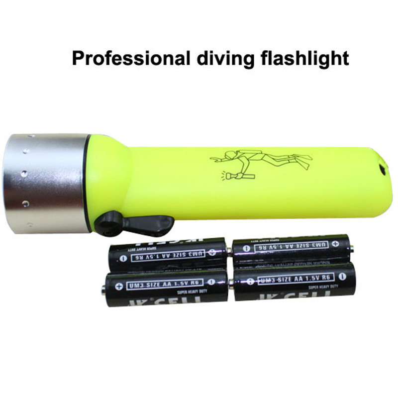 New Diving Flashlight Led Torch Professional Waterproof Underwater Lights Tool Outdodoor Tool Without AA Batteries diving adventure