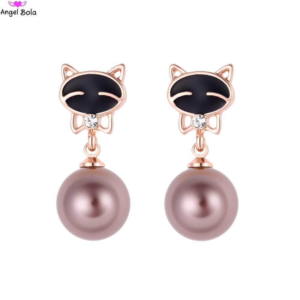 Pryme Baumeln Ohrringe Kitty Design Rose Gold Perle Ohrring Strass Schmuck Für Frauen Party Hochzeit Braut Ohrring ZE-007