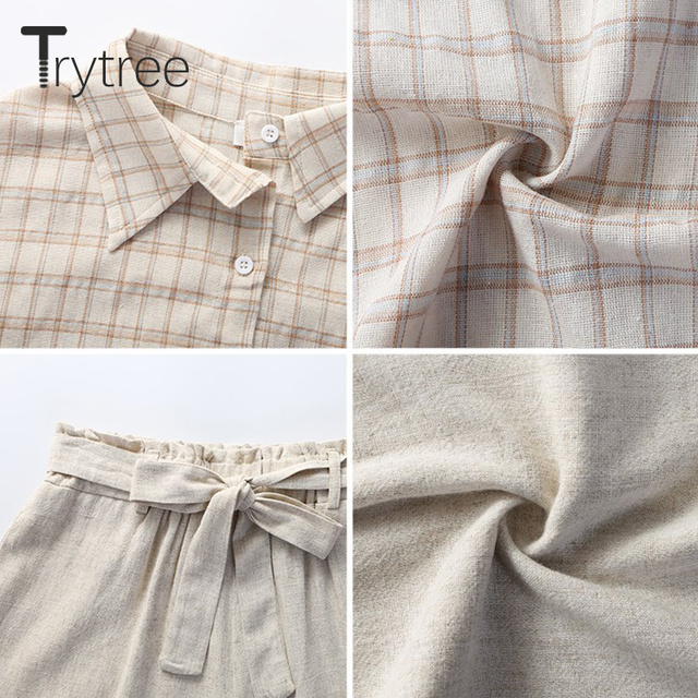 Three Piece Casual Linen Plaid Shirt with Tank Top & Wide Leg Shorts 5