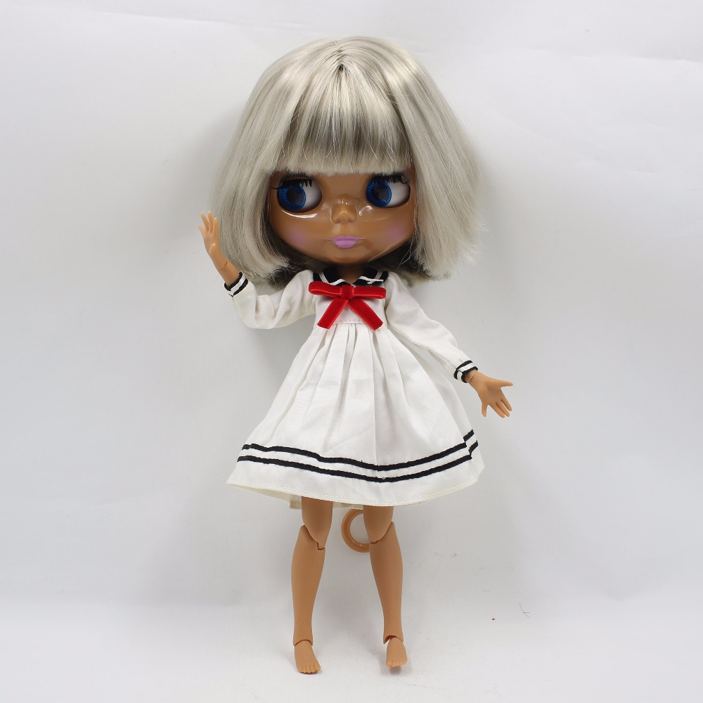 Neo Blythe Doll with Grey Hair, Dark Skin, Shiny Face & Jointed Body 2