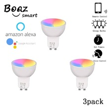 Smart wifi GU10 ,APP and Alexa, Google Assistance Voice Controlled bulb ,RGBW Color Changing wireless light 3Pack