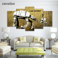 5 Piece Canvas Art HD Print Robot Father And Kids Vintage Poster Wall Paintings For Living