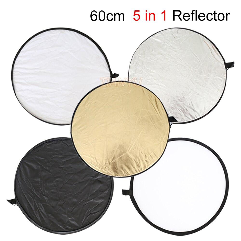 """24 """"reflektor 60 cm 5 v 1 nový přenosný skládací světlo kulaté fotografie / reflektor fotografie zlatý / stříbrný / bílý / černý / průsvitný"""