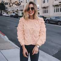 BerryGo Pompon autumn winter sweaters women O neck long sleeve casual pink pullovers female Fashion loose ladies knitted jumpers