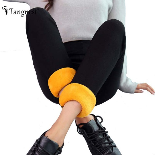 TANGNEST Thick Warm Leggings 2016 Winter High Elasticity And Good Quality Velvet Pants Ankle Length Legging WKP296