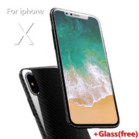 Ultra Thin With A Glass For Iphone X 8 Plus 8 7 Plus 7 Case Carbon