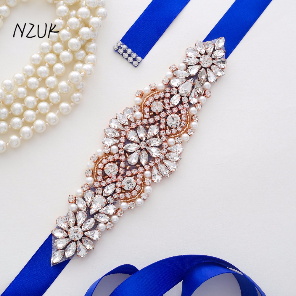 Rhinestones Bridal Belt Diamond Wedding Dress Belt Rose  Gold Crystal Bridal Sash For Wedding Decoration Y103RG