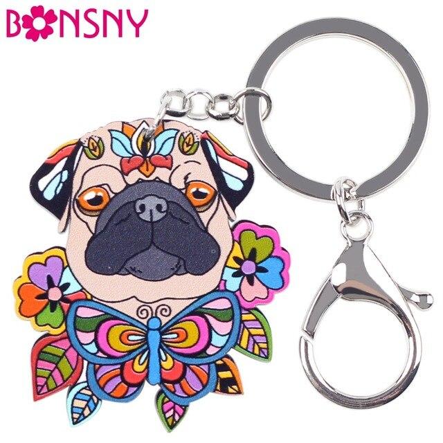 Bonsny Acrylic Statement Dog Jewelry Pug Dog Key Chain Key Ring Pom Gift  For Women Girl Bag Charm Keychain Pendant Jewelry 67ea43f0a