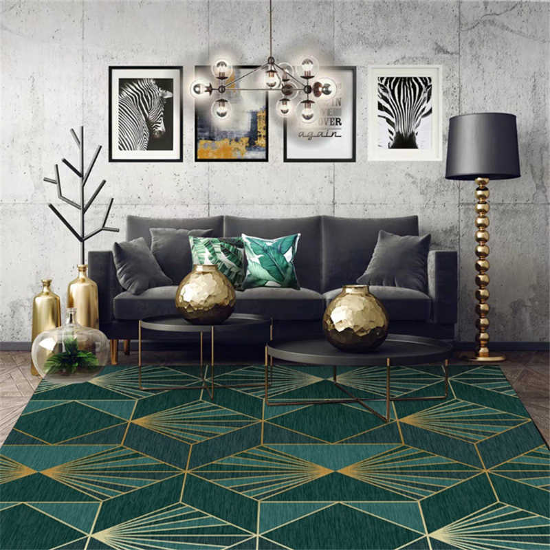 Aovoll Area Rug For Bedroom European Dark Green Gold
