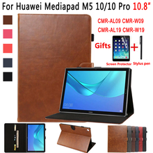 Premium Leather Case for Huawei Mediapad M5 10 Pro 10.8 CMR-W19 CMR-W09 CMR-AL09 Cover Smart Case for Huawei Mediapad M5 10.8 shockproof case for huawei mediapad m5 10 pro cmr al09 cmr w09 tablet sleeve pouch bag cover for huawei mediapad m5 10 8 funda