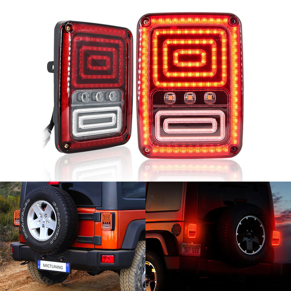 2x Black LED Reversing  Brake Turn Signal rear Tail Lights LED Lamps  for 07-16 Jeep Wrangler JK automotive halogen lamps tail lights rogue reversing lights brake lights beep sound the alarm lamp