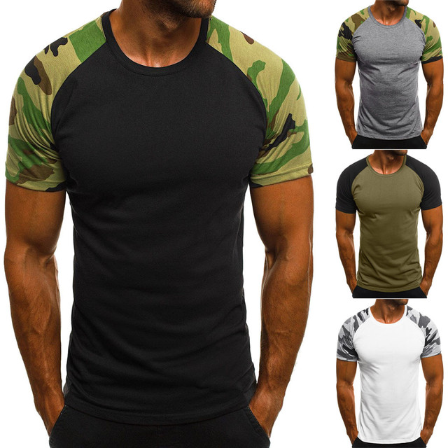 JAYCOSIN Summer Mens Fashion T Shirts Camouflage Army Green Brand Clothing For Man's Wear Short Sleeve Slim T-Shirts Tops Tee