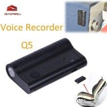 Mini Q5 Auto Activación Por Voz Grabadora de Voz Oculta Bolsillo Linterna LED de Larga Distancia de Alta Sensibilidad de Sonido Rocorder Batería Grande