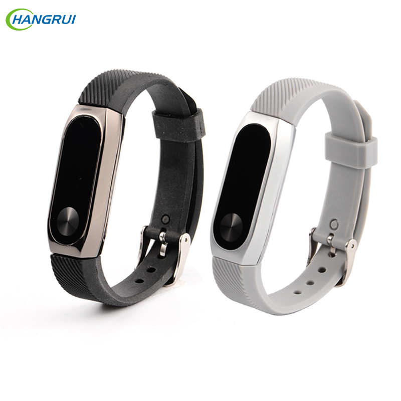 HANGRUI Silicone Wrist Strap Bracelet For xiaomi mi band Metal frame Wristband