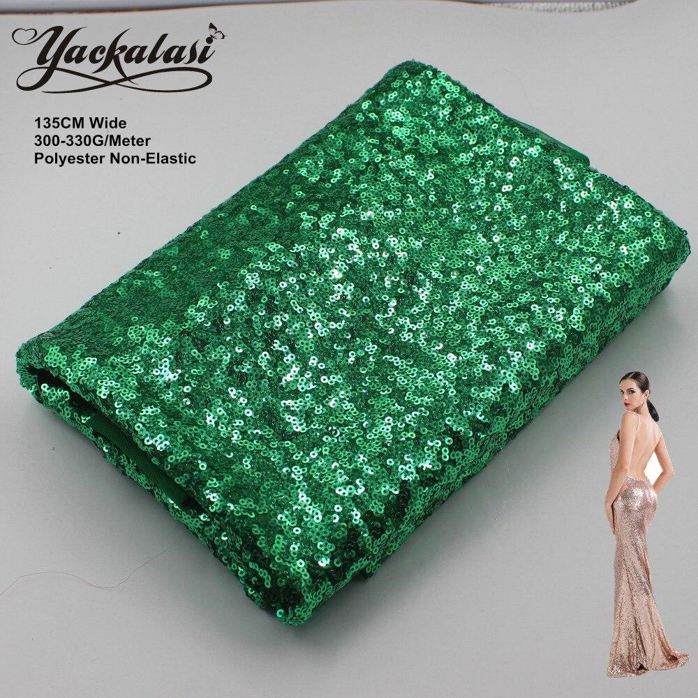 YACKALASI Flitrované krajkové tkaniny Zelený celoplošný Flitry Vyšívané textilie Noční šaty Látky Vánoční dekorace 130CM