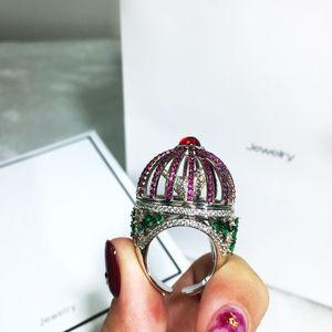 Image 2 - Dazz Marke Offenen Ring Kreative Fantasie Vogel Käfig Runde Haus Ring Voll Zirkon Farbe Dubai Frauen der Männer Spaß Luxus zubehör 2019