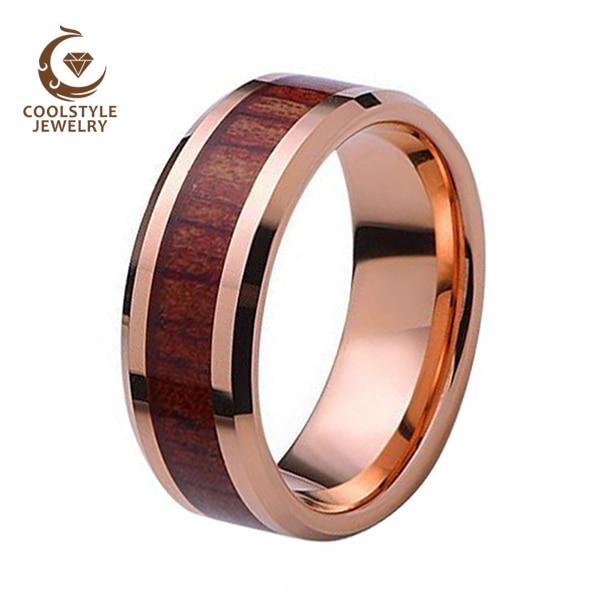 Nature Koa Padauk Wood Inlay Tungsten Carbide Men Women Wedding Ring High Polished Comfort Fit Size 5 to 15 black tungsten carbide with dark wood inlay mens wedding ring