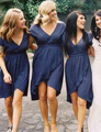 Don's Bridal 2016 Navy Blue Bridesmaid Dresses A Line V Neck Short Sleeves Vestido De Festa Knee Length Chiffon Formal Gowns