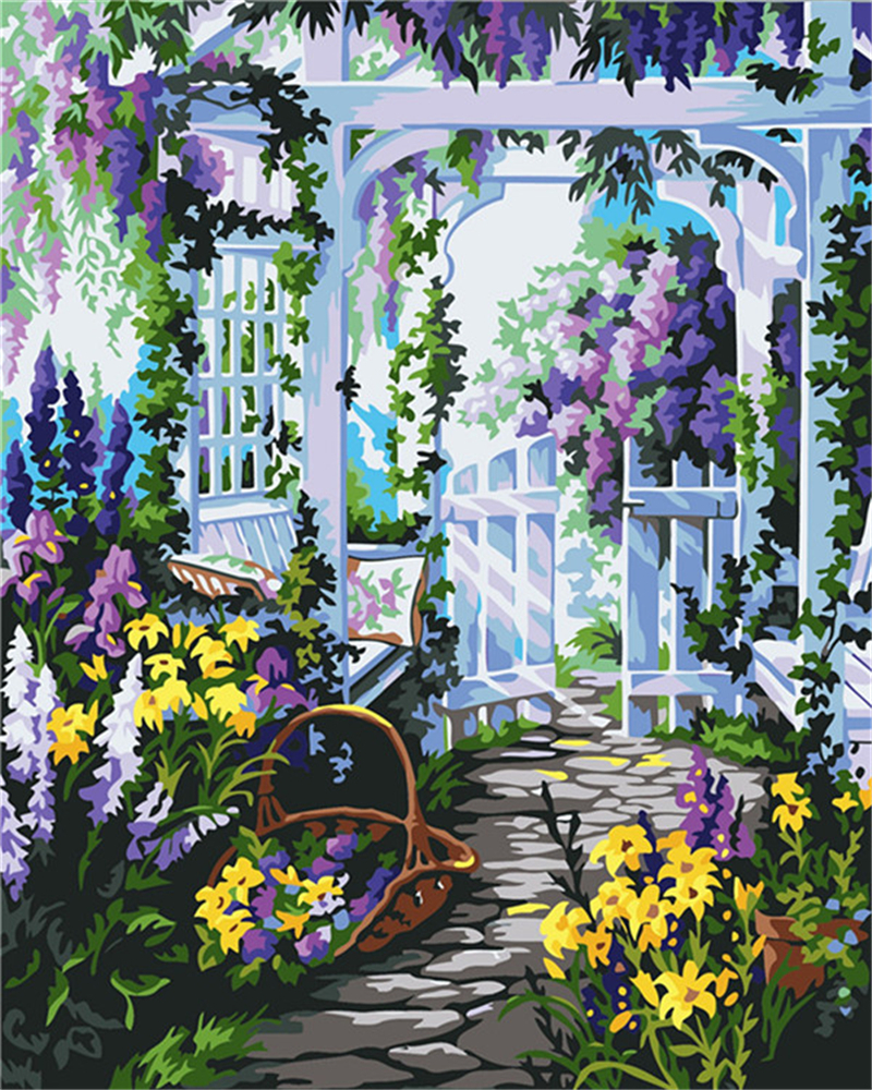 The Best Frameless Pictures DIY Digital Oil Painting By Number 40x50 Flower  Garden Christmas Birthday Gift Wall Decor In Painting U0026 Calligraphy From  Home ...