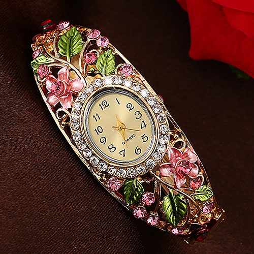 Women Lady Beauty Crystal Colored Alloy Flower Bangle Bracelet Gold Watch Analog Quartz Gemstone Classic Dress Wristwatch Fashio