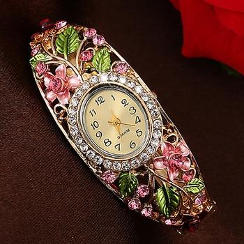 цена на Women Lady Beauty Crystal Colored Alloy Flower Bangle Bracelet Gold Watch Analog Quartz Gemstone Classic Dress Wristwatch Fashio