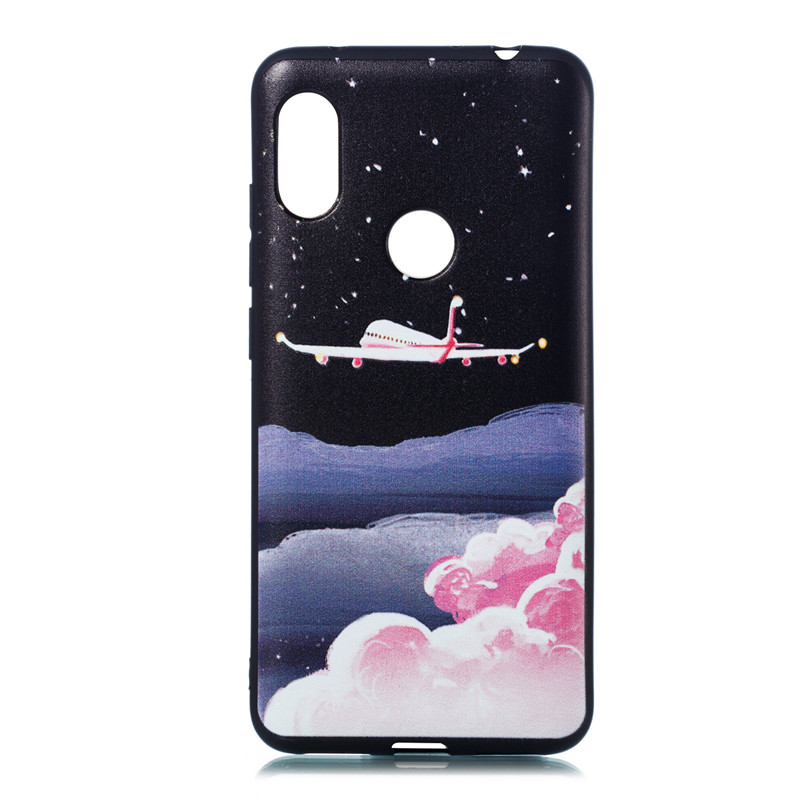 Cover For Xiaomi Redmi Note 6 Pro Case Soft TPU coloured drawing painting Wind chime Feather Starry sky Fashion Mobile Phone Cas in Half wrapped Cases from Cellphones Telecommunications