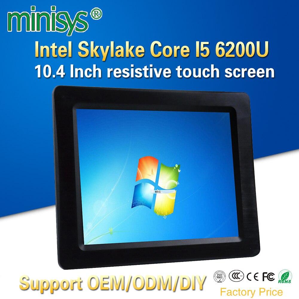 Minisys 10,4 ''Планшеты ПК Intel процессор Core i5 6200u Touch Панель компьютер Поддержка памяти DDR4 Ram нестандартных ЖК дисплей Дисплей для Pos Системы