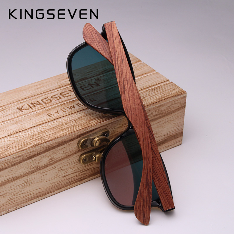 KINGSEVEN Rimless Polarized Wood Sunglasses Men Square Frame UV400 Sun glasses Women Sun glasses Male oculos de sol Feminino 3