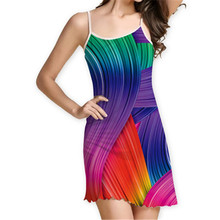 Women casual colorful Rainbow Printed Dress Sleeveless Sling Fitness Workout Multi-color printing lady party dresses