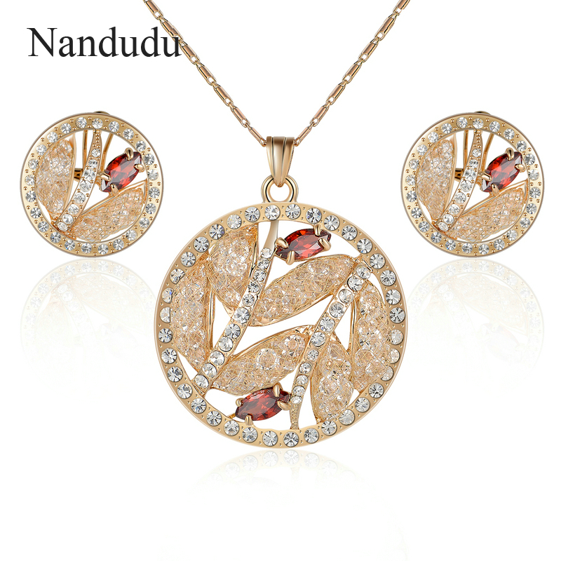 Nandudu Graceful Big Round Pendant Necklace with Austrian Crystal Wire Mesh AAA Zircon Earrings Jewelry Sets for Women CN287 цена 2017