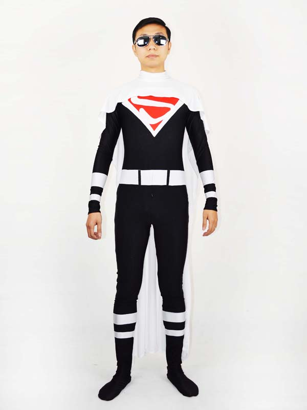 White and Red Superman Spandex Superman Costume Zentai Cosplay Suit