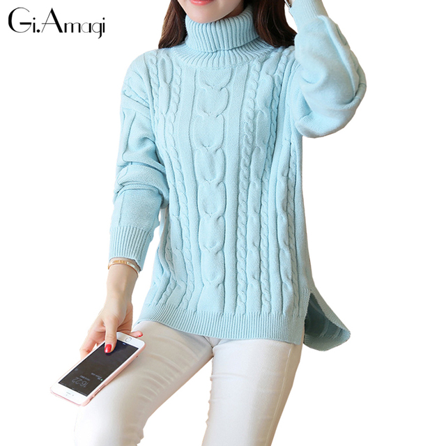 Otoño invierno gruesa línea de cobertura giro tejer flojo más el tamaño de cuello alto suéter pullover suéteres de manga larga de las mujeres gruesas