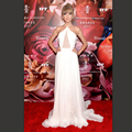 Summer Dress 2017 Sexy White Halter Ruched Backless Long Chiffon Taylor Red Carpet Dress Gorgeous Vestidos Celebrity Dress