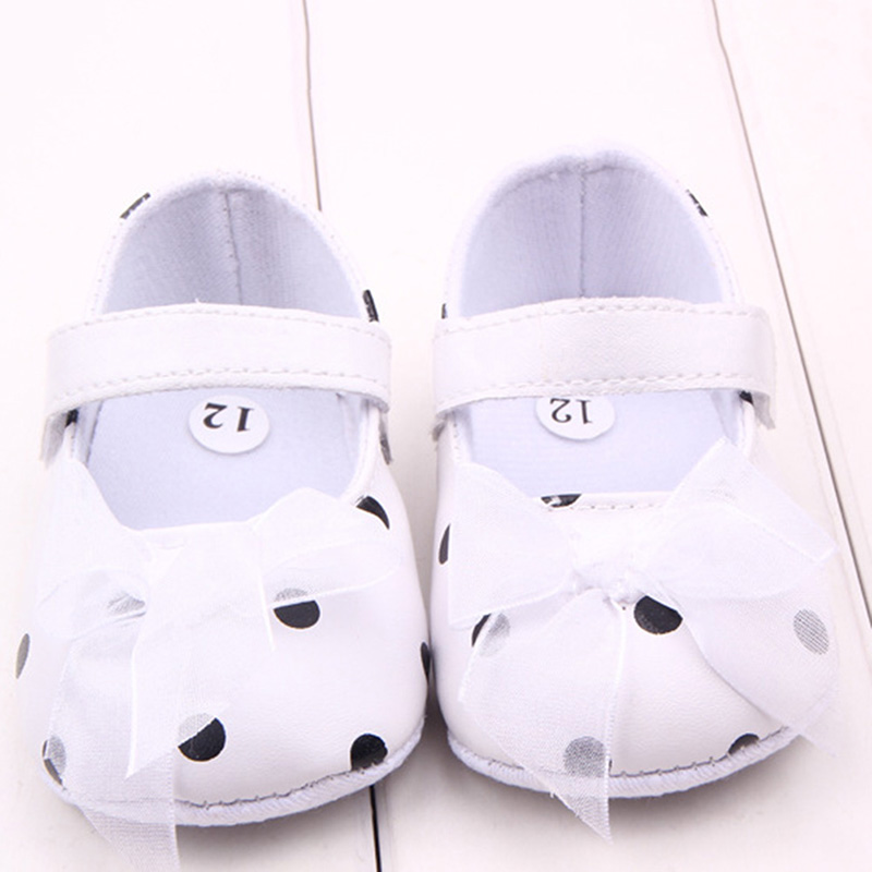 New Pink Ribbon Princess Lace Baby Polka Dot Shoes Newborn Girl First Walkers Anti-skid Shoes New P1