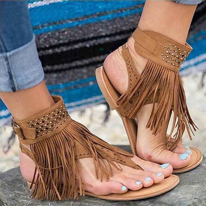 2018 Summer Women Sandals New Bohemia Flats Tassel Woman Flip Flops Vintage Women Shoes Beach Sandals Slides Plus size 35-44 2017 summer pearl women slippers velvet sandals flip flops slip on flats woman beach platform women shoes plus size 35 39