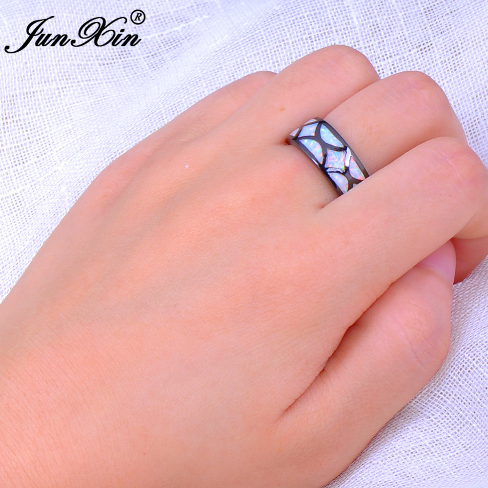 JUNXIN Fashion Jewelry White Fire Opal Ring Black Gold Filled ...