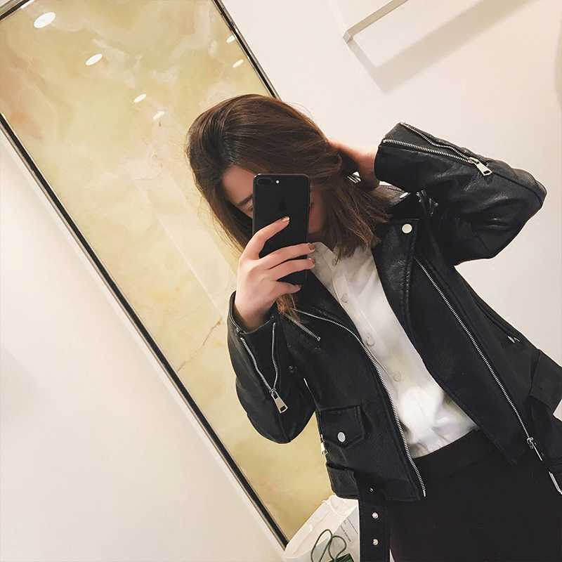 Fitaylor Fashion Women Pu Leather Jacket Bright Color Black Motorcycle Coats Short Faux Leather Biker Jackets Soft Coat Female
