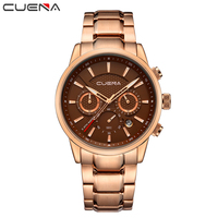 CUENA Luxury Fashion Brand Men S Quartz Auto Date Clock Men Waterproof Stainless Steel Rose Gold