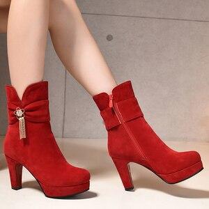 Image 5 - Kobiety dorywczo wysokiej jakości czarne buty na wysokim obcasie lady casual street buty z boczny zamek błyskawiczny lady fajne buty jesień i zima e2303
