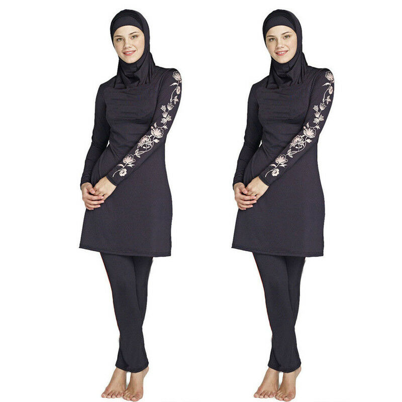 Modesty Bearwear Dubai Burkini Bathing Suit Swimwear Muslim Full Cover Islamic Arab Long Sleeve Swimming Bikini Set