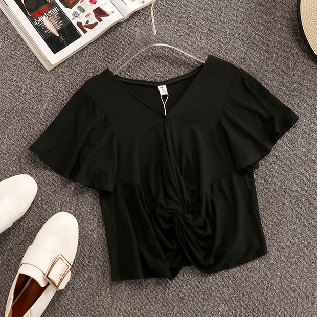 2019 New Summer Women's Simple Short Sleeve T-shirt + Chiffon Pleated Wide-leg Trousers Two-piece Students Leisure Pants Suit 8