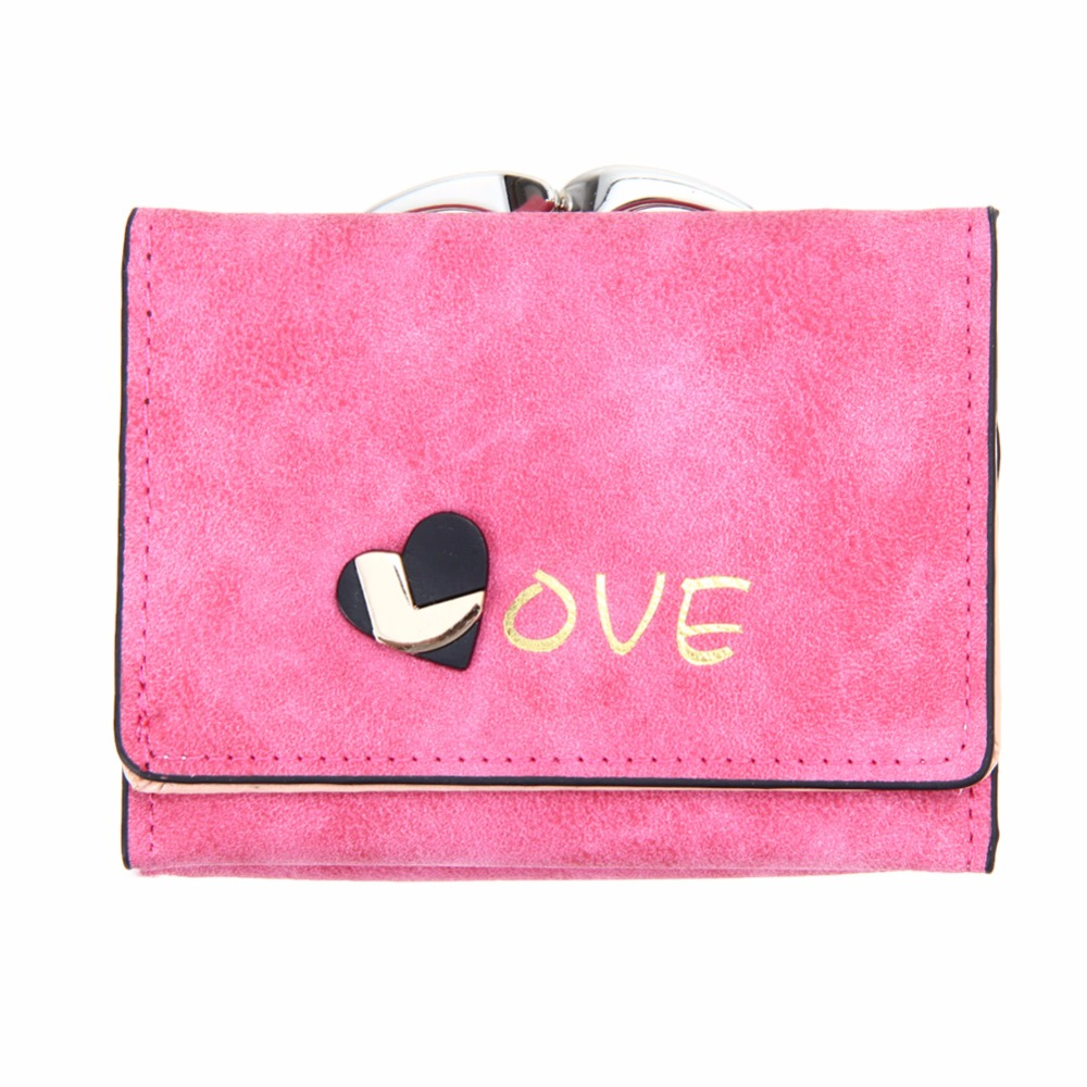 Cute Love Heart Women Wallet Fashion Unique Nubuck Leather Ladies Short Wallets Photo Card Holder Coin Purse Clutch Great Gift simline fashion genuine leather real cowhide women lady short slim wallet wallets purse card holder zipper coin pocket ladies