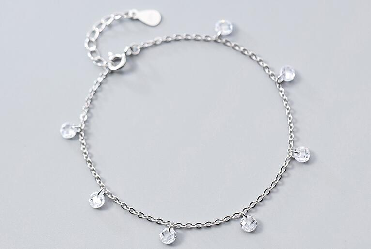 1pc 4mm 100% Authentic Real. 925 Sterling Silver Fine Jewelry White zirconia crystal chain Bracelet women's  GTLS747