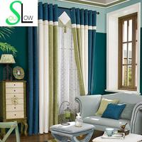 [Slow Soul] Curtain Cloth Living Room Bedroom Splicing American Style Striped French Window Blackout Curtains Luxury Cortinas