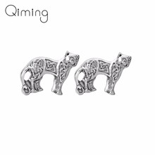 Viking Kitty Cat Earrings Female Gold Animal Persian Cats Original Women Vintage Indian Jewelry Cute Slavic Stud Earring(China)