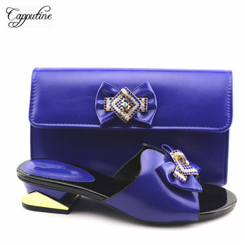 New arrival royal blue African medium heel slipper shoes and handbag set for lady YA336-2, heel height 4 cm