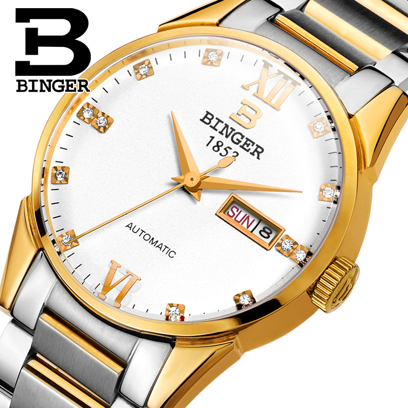 Switzerland watches men luxury brand Wristwatches BINGER 18K gold Automatic self-wind full stainless steel waterproof  B1128-8 switzerland watches men luxury brand men s watches binger luminous automatic self wind full stainless steel waterproof b5036 10